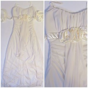 Ruby Rox Dress Cream hi low Rutched Rose Detail SM